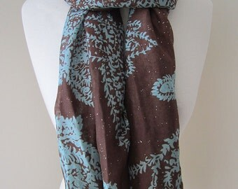 Brown Infinity Scarf with blue paisley and ironed glitters - Long and lightweight voile scarf for spring, summer and fall