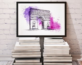 Paris Print, Watercolor painting, Travel Illustration, Original Arc de Triomphe, Architecture Illustrator, Modern City Art, Holiday Gift