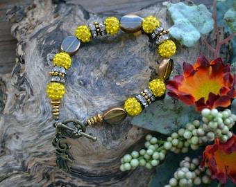 Crystal Bracelet, Yellow, Porcelain, Crystal, Gold, Bronze Bracelet (B54)