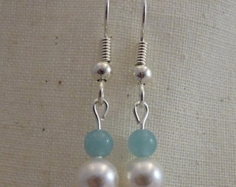 Amazonite and Swarovski Pearl Earrings