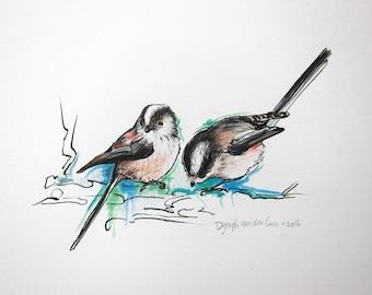 Long-tailed tit bird original drawing