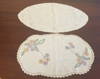 Vintage hand embroidered linen doilies
