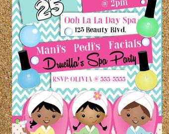 Spa Party Invitation, Spa Birthday Invitation, Spa Party Supplies, Girls Spa Party Invitation, African American Spa Party, Hispanic Spa