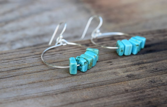 SALE Turquoise Earrings, Turquoise Hoop Earrings, Blue Stone Silver Hoop Earrings, Boho Chic Summer Wear, Turquoise Dangle Earrings