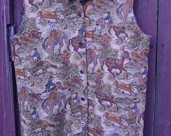 Vintage Cowboy tapestry vest bucking bronco bull rider rodeo bucking bull calf roping buckaroo rodeo horses cattle herding ranch  wild west