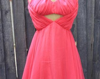 Pink Chiffon Lilli Diamond 1950s Dress