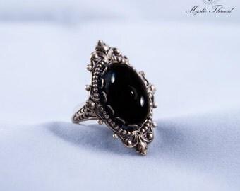 Black agate gothic victorian ring-gothic ring-victorian ring-vintage ring-jet black ring-adjustable ring-bronze ring-elegant ring