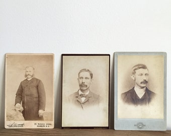 set of portraits of gentlemen - black and white cardboard cabinet card set - mustachioed gentleman - hipsters - turn of the century