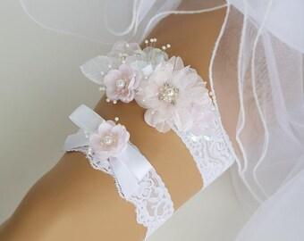 Pink Flower Wedding Garter, Bridal Garter, Wedding Garter Lingerie, White lace Garter Set, Floral Bridal Garter Set -GT004