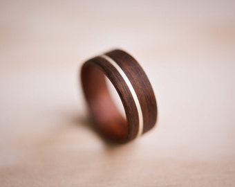 Sterling Silver Inlay in Santos Rosewood Bentwood Ring