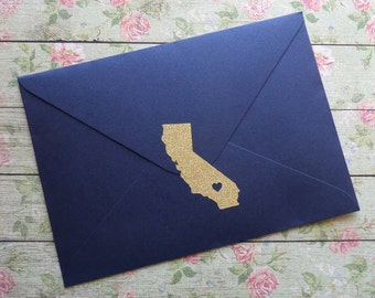 25 gold glitter California stickers, silver or gold California envelope seals, California wedding invitation seal, California save the date