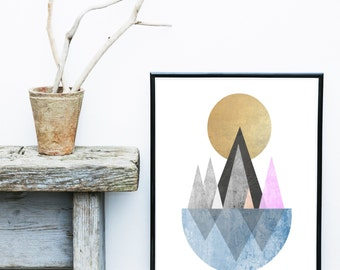 Mid Century Modern, Art Print, Geometric Art, Printable Wall Art,  Scandinavian Design, Modern Art, Wall Decor,  Digital Download