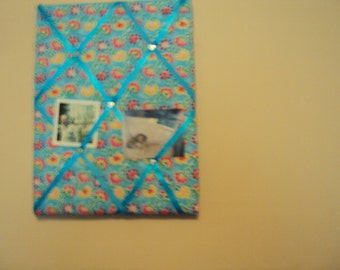 12x14 Memory Board Light Blue with Flowers on it. 008