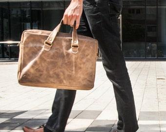Smoky Brown Leather Messenger Bag - Laptop Leather Bag -Italian Leather Unisex Handbag - Leather Messenger Bag - Leather Unisex Laptop Bag