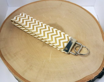 FREE SHIPPING - Wristlet Key Fob, Key Chain, Chevron Fabric, Gold and White, Gift Under 10, Ready to Ship