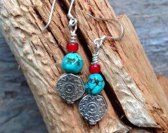 Southwestern turquoise earrings, Sedona earrings, December birthstone earrings, fall earrings, sunburst earrings, silver earrings,