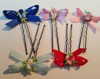 white satin bow hair pin, ribbon bow hair, embroidered flower hair pins, floral hair pin with bow, small bow bobby pin, ribbon hair pins