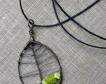 Charcoal Leaf Pendant with Green Accents