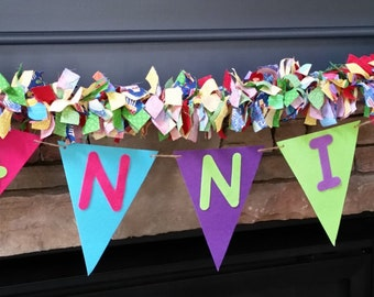 Birthday Rag Garland with Customizable Word Banner, Name Banner Garland, Birthday Bunting, Birthday Party Decoration, Name Garland, 5 ft