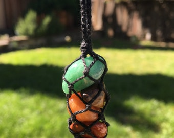 First 4 Chakras Crystal Macrame Necklace (hand-knotted/thread only/no metals)