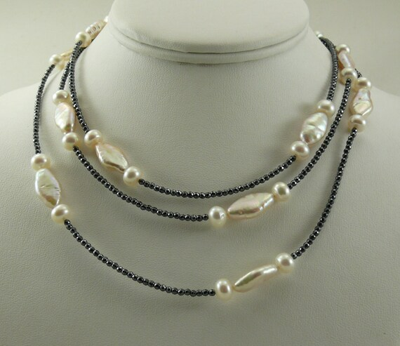 Freshwater White Pearl and Black Hematite Necklace with Sterling Silver Clasp