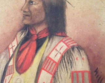 Painting Native American Chief Wolf Robe Southern Cheyenne Holder Benjamin Harrison Peace Medal 1890-1910 Signed Hill. L/R American School