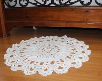 Hand knit white rug