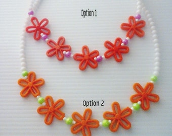 Acrylic Flower Necklace for Girls-Flower Beaded Necklace for Girls- Elastic Beaded Necklace for Girls
