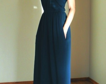 100%Cotton jersey knit Dress,Navy Blue Maxi Dress With Pockets,Dress to the floor,Long dress,Daily Red dress,Dark blue dress,Summer Dress