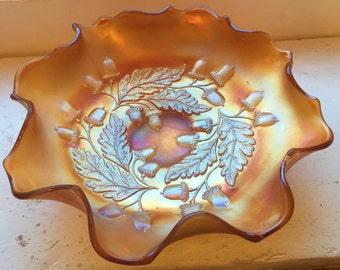 Fenton Carnival Acorn Dish / Bowl in Marigold
