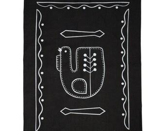 Hand screen printed 'Tuuliviiri' tea towel large in 100 % Linen - Black and White