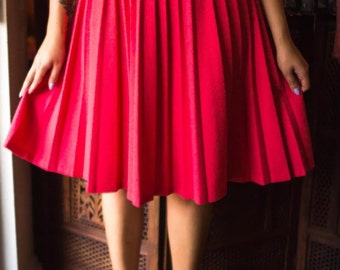 Pleated Coral Circle Skirt