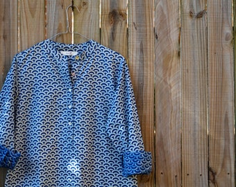 Shirt Dress - Indigo Waves
