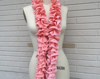Pink and White Polka Dot Ruffled Scarf