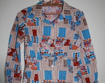 1970's Beautiful Women Shirt with Multicolor Flowers and Squares-Unique Item, Custom Made
