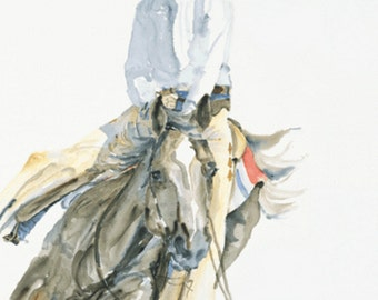 "Watercolor_Contemporary Western Art_LIMITED EDITION PRINT_""Concentration"""