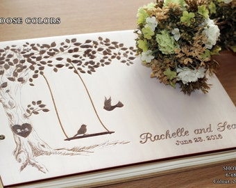 Custom Guest Book Tree Unique Wedding Guestbook Wedding Guest Book Rustic Wedding Guest book Wood Guestbook Personalized Guest Book Birds