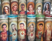 "SET of 12 CAST - Buffy the Vampire Slayer tv -  8"" Celebrity Saint prayer Candle:  Buffy, Angel, Willow, Giles, Faith, Drusilla & MORE"