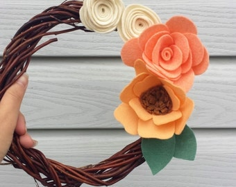 Felt Flower Wreath, Mini Grapevine Wreath, Spring Wreath, Mini Wreath, Nursery Wreath, Year Round Wreath, Summer Wreath, Twig Wreath
