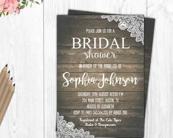 Burlap and Lace Bridal Shower invitation Bridal Shower Invitation Rustic Invitation Wedding Shower Invitation printable Bridal Shower