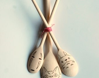 3 Studio Ghibli Wooden spoons - My Neighbor Totoro - Spirited Away - Catbus - No Face - Anime - Utensils - Housewarming - Birthday - Easter