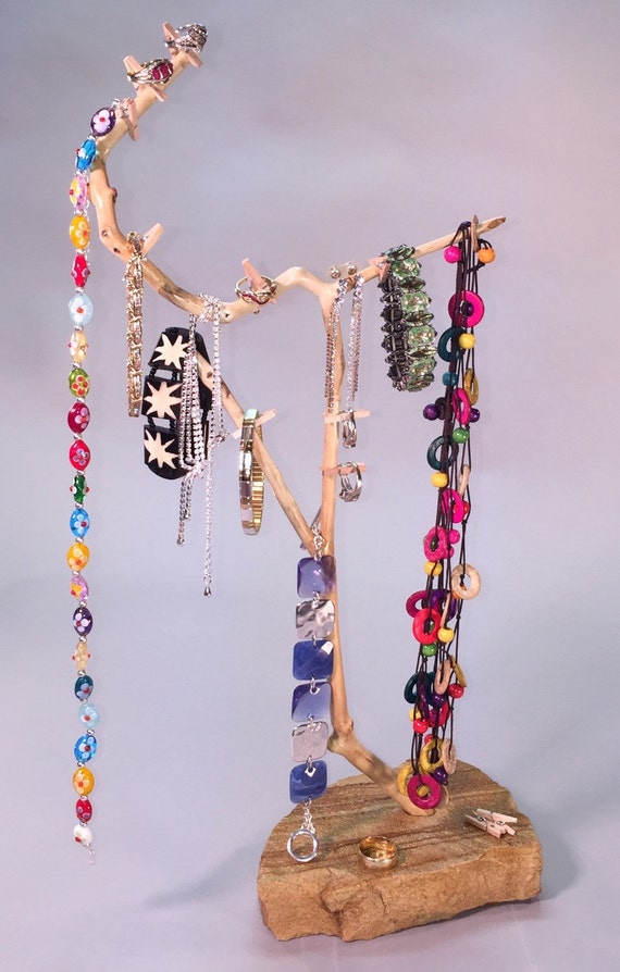 Natural wood and stone jewelry display by justice treehouse for Sawyer marble jewelry stand