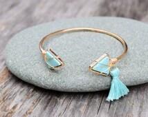 Turquoise Blue Triangle Cuff Bracelet, Howlite Stone Wire Wrap Bangle Bracelet, Boho Chic Double Arrow, Blue Tassel Bracelet, Summer Wear