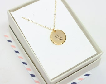 California Necklace, Hand Stamped CA, Gold Circle California State Necklace, State Necklace, Travel Jewelry, State Charm, USA Necklace, CA