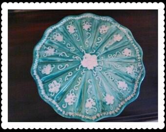 Ceramic Cake Plate in teal glaze