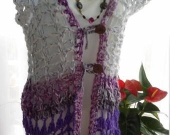 Crocheted open weave waistcoat size small