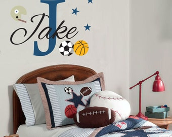 Personalized Monogram Sport Wall Decal, Custom Name Vinyl Decal for Kids, Removable Wall Sticker, Nursery wall decor