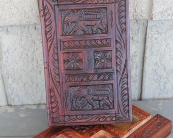 Hand Carved Wood Jewelry Box- Sri Lankan Secret Compartment Box