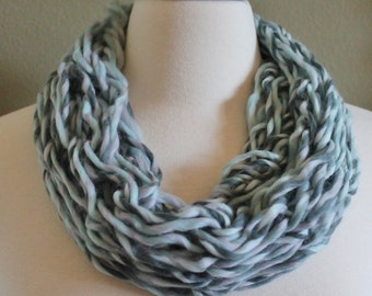 Multi Colored Mint Single Loop Arm Knit Infinity Scarf