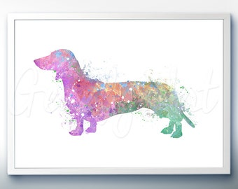 Dachshund Watercolor Art Print [2]  - Home Living - Animal Painting - Dog Poster - Wall Decor - Home Decor - House Warming Gift